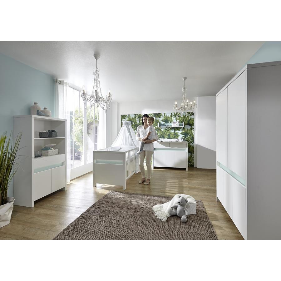 SCHARDT Set PLANET TURQUOISE armoire 5 portes, lit modulable, commode à langer, blanc/turquoise