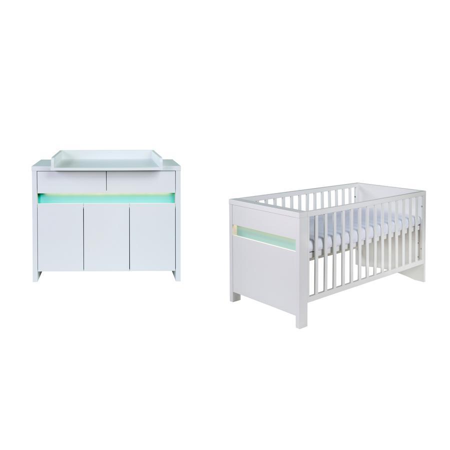 schardt ensemble planet turquoise avec lit c t s transformables commode langer avec table. Black Bedroom Furniture Sets. Home Design Ideas