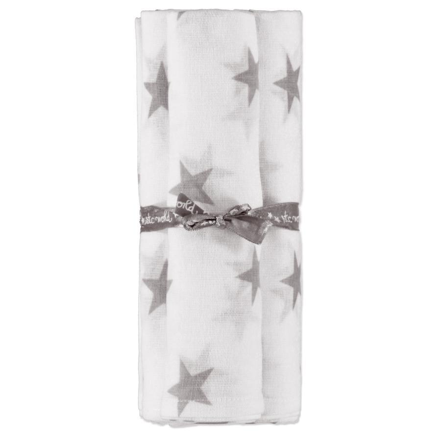 STACCATO Mulltücher 3er Pack weiß-grau