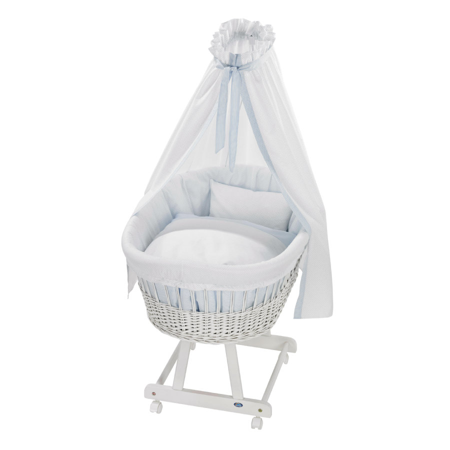 Alvi Culla Birthe bianca con biancheria 631-1 Little Dots blue