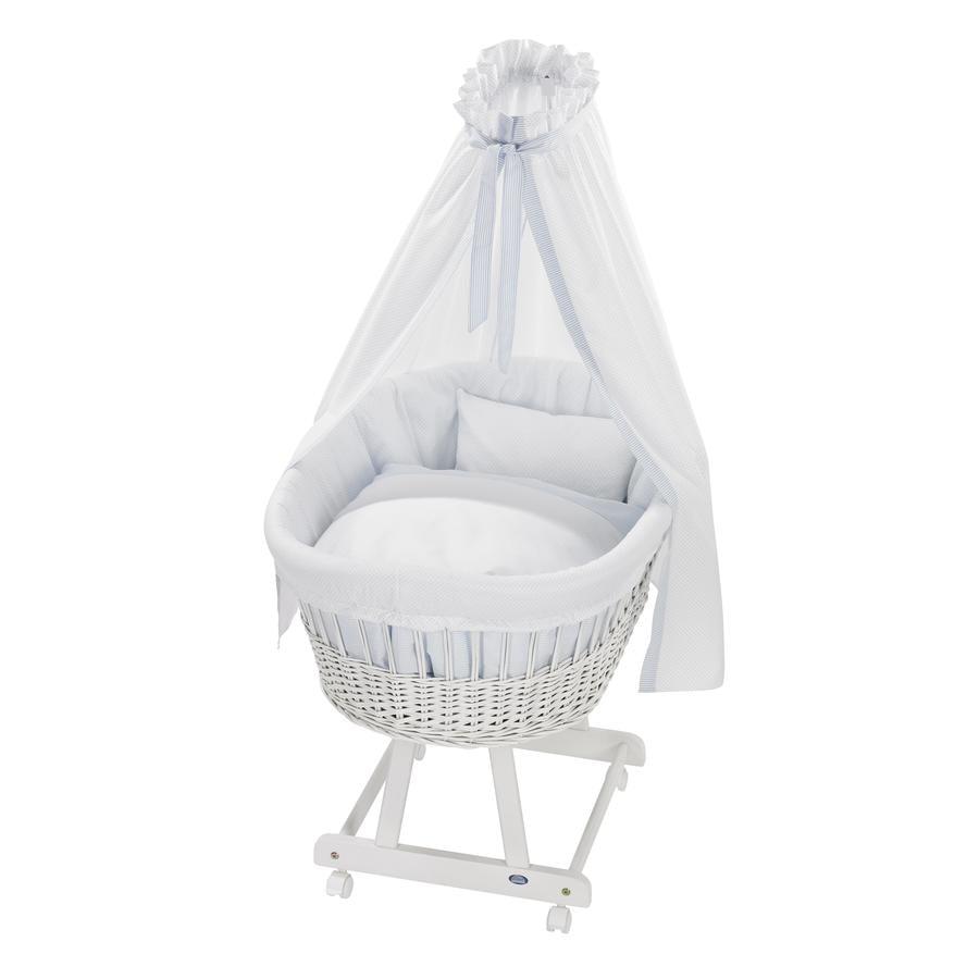 ALVI Košík na miminko Birthe bílý, textil Little Dots blue 631-1