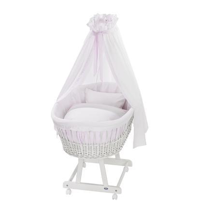 Košík na miminko Birthe bílý, textil Little Dots rose 631-2