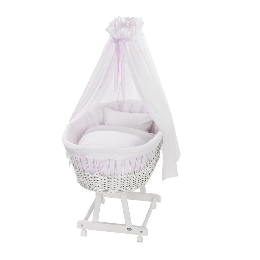 Alvi® Moisés Birthe blanco 631-2 Little Dots rosa