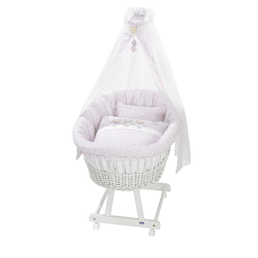 ALVI Vauvan korisänky Birthe sänkysetillä, valkoinen, kissat 615-2