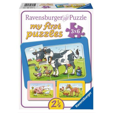 RAVENSBURGER  Moje první puzzle - Rámové puzzle - Dobrí zvířecí kamarádi, 3x6 dílů