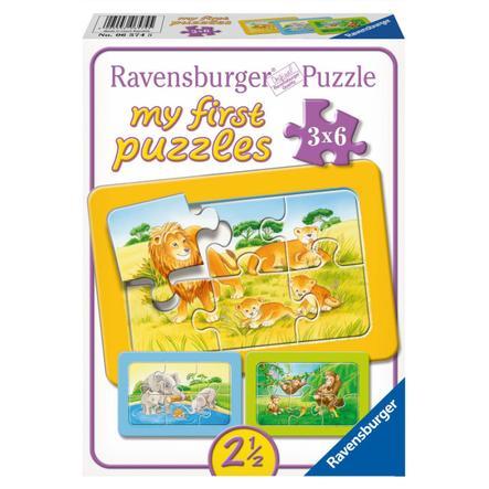 RAVENSBURGER Moje první puzzle - Rámové puzzle - opice, slon a lev, 2x6 dílů