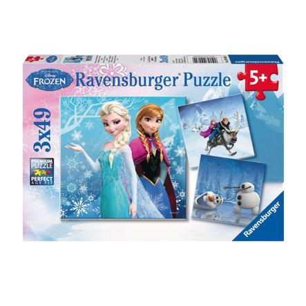RAVENSBURGER Puzzle 3x49 Disney Frozen - Avventure nella foresta di ghiaccio