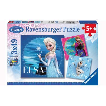 RAVENSBURGER Puzzle 3x49 dílů Disney Ledové království - Elsa, Anna & Olaf