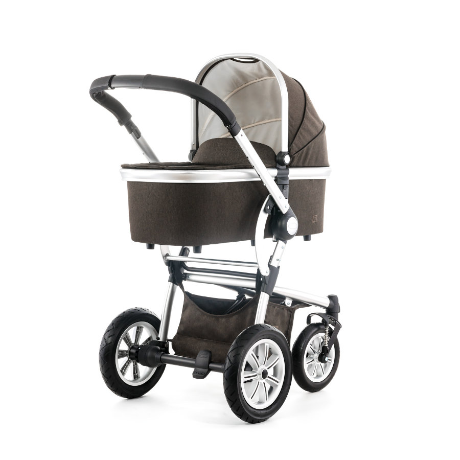MOON Combi Pram Tregg Set Design 971 brown denim incl. 3 in 1 Carrycot