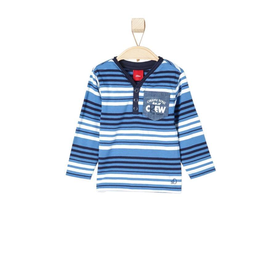 s.OLIVER Girls Tričko s dlouhým rukávem medium blue stripes