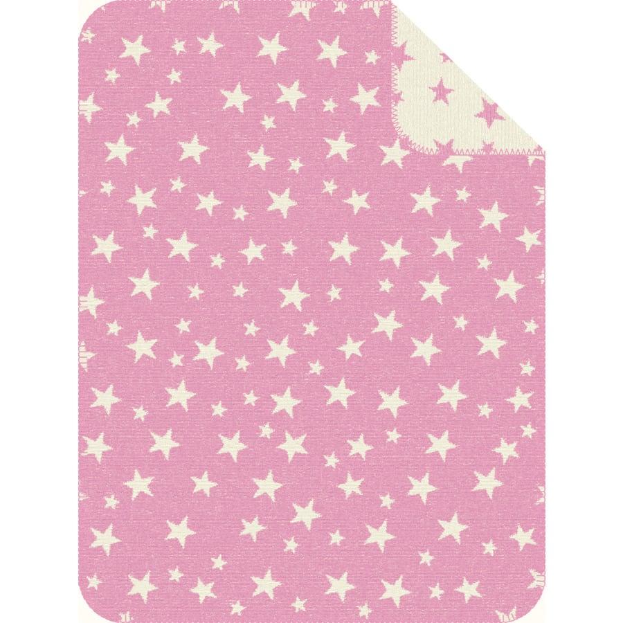 s.OLIVER Jacquarddecke Sterne rosa - 75x100 cm