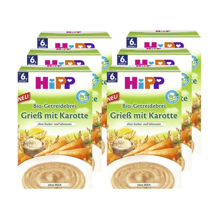 HiPP BIO-Getreidebrei Grieß mit Karotte 6 x 200 g