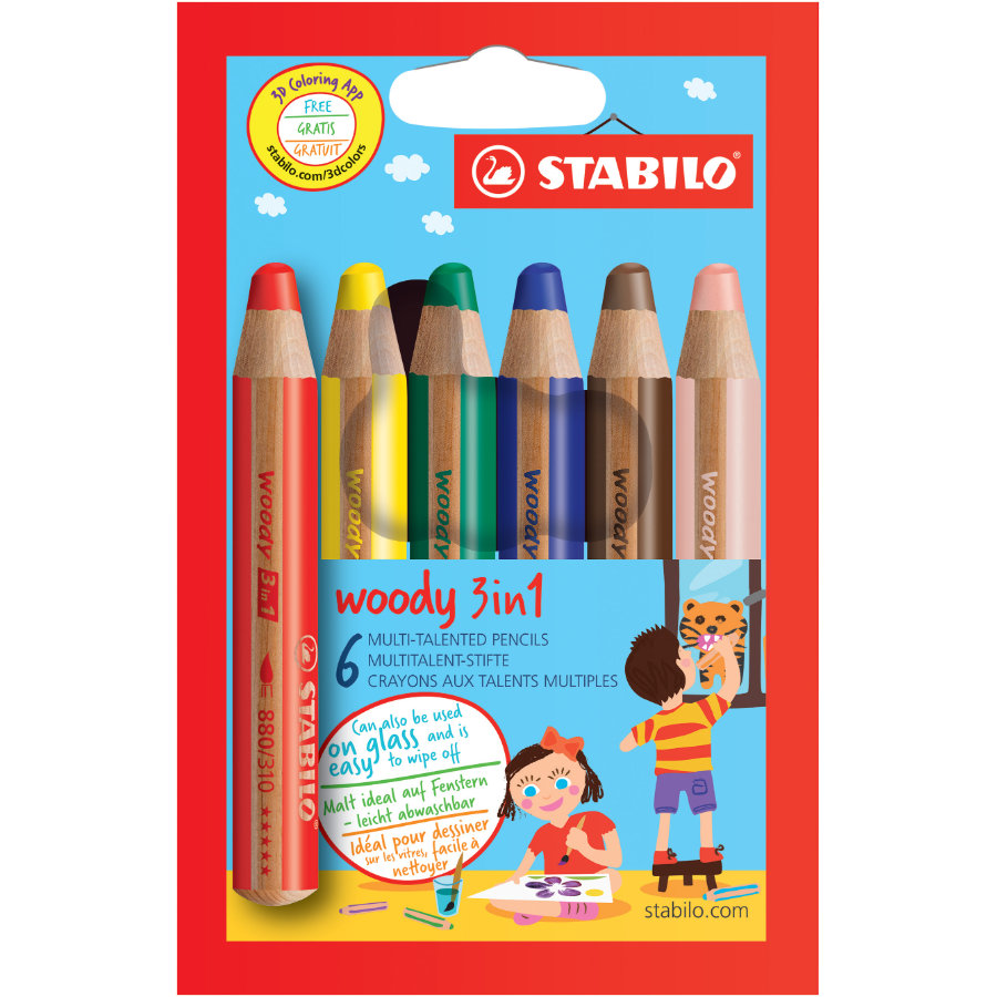 STABILO woody 3 in 1, 6-pack färgpennor