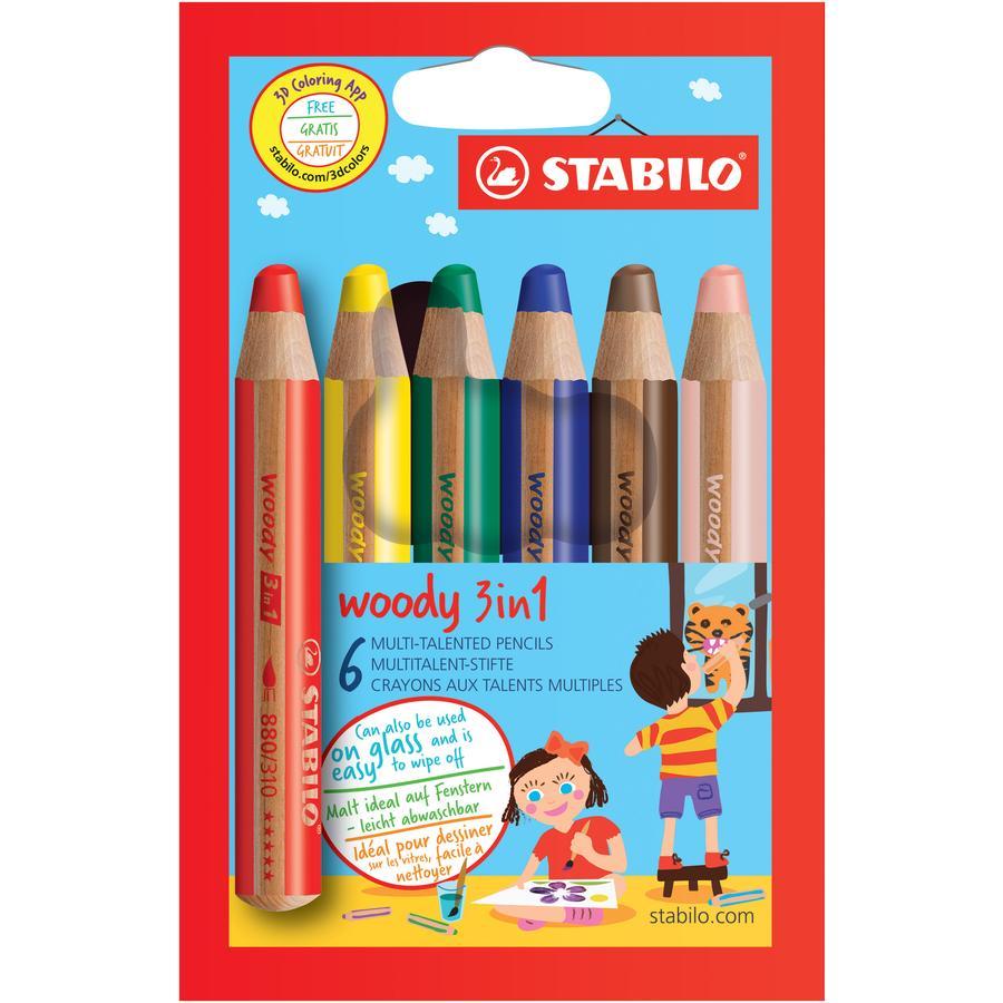 "STABILO woody 3-in-1 potloden 6 stuks ""Swano"""