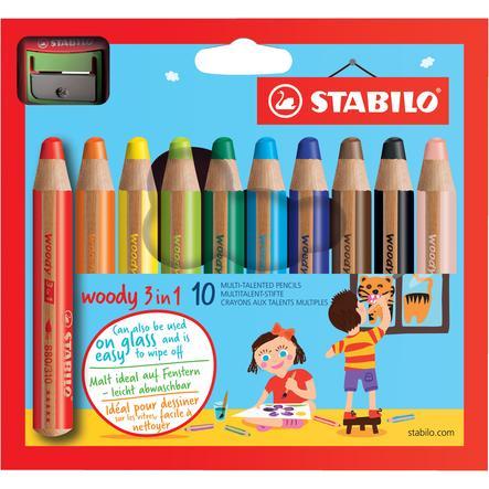STABILO woody 3 in 1, 10-pack Färgpennor, pennvässare + pensel