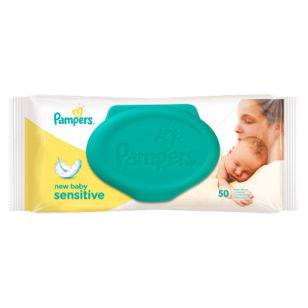 Pampers Wipes Sensitive New Baby, Single Pack with Re-Closable Lid, 50 pcs.