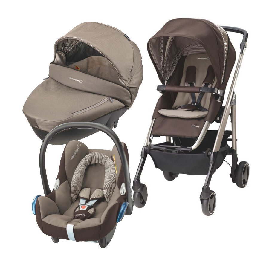 Bébé Confort Trio Navicella Windoo, Passeggino Buggy Loola 3, Seggiolino auto CabrioFix earth brown