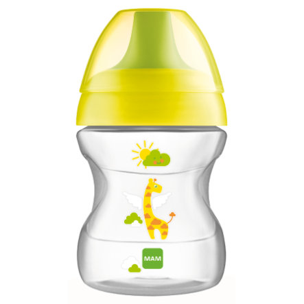 Lahvicka MAM 190 ml Learn to Drink Cup Fashion 6 m+, zelená