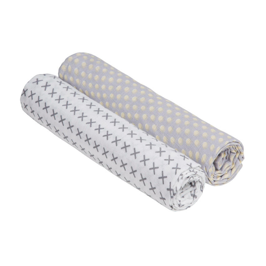 LÄSSIG Couverture Swaddle & Burp XL Riddle, 120 x 120 cm