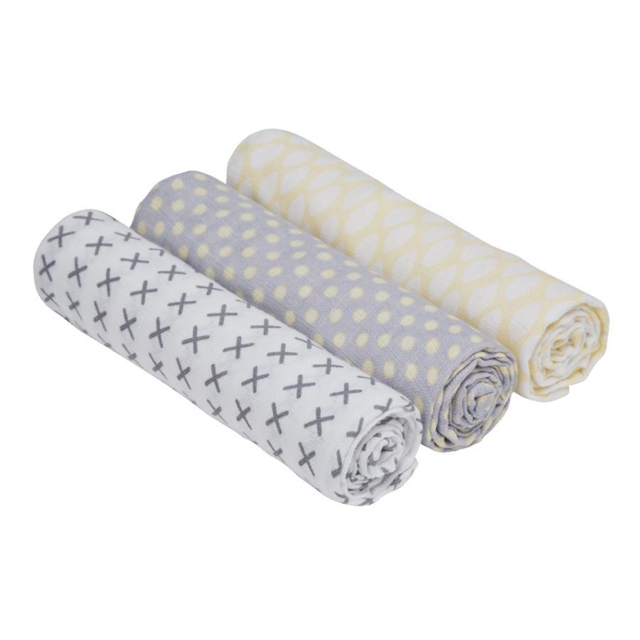 LÄSSIG Swaddle & Burp Blanket L Riddle 85 x 85 cm