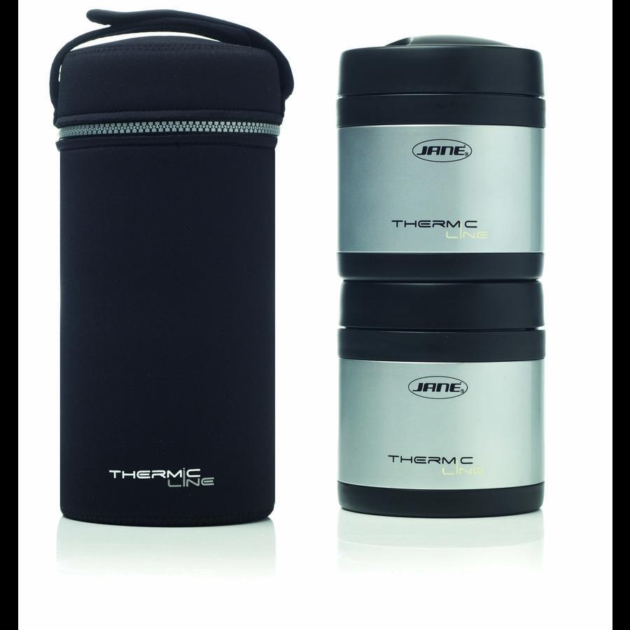 JANE Thermobehälter aus Edelstahl mit Henkel für feste Nahrung 500cc 2 Stück