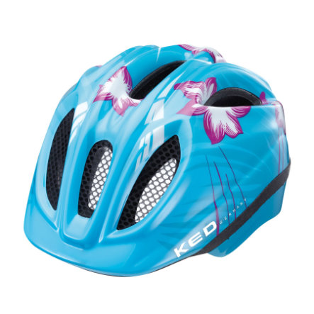 KED Casque de vélo enfant Meggy Lightblue Flower T. S/M, 49-55 cm