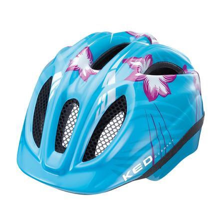 KED Dětská cyklistická helma Meggy Lightblue Flower vel. XS 44 - 49 cm