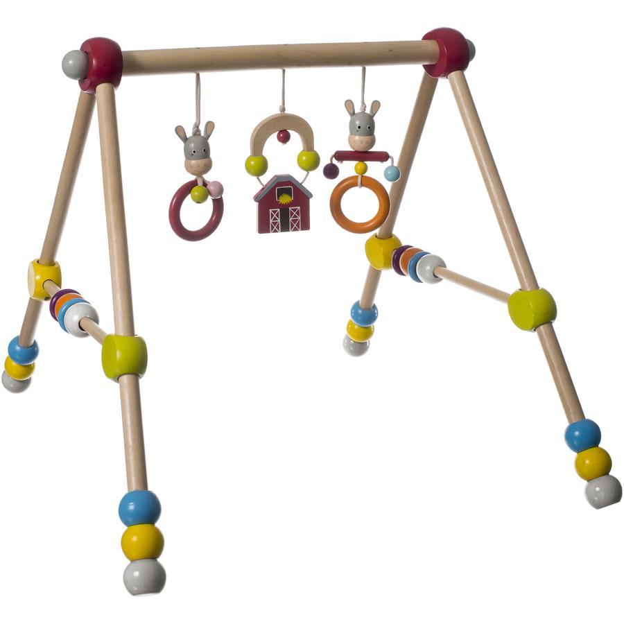 BIECO Portique d'activités en bois bébé, Âne, réglable en hauteur