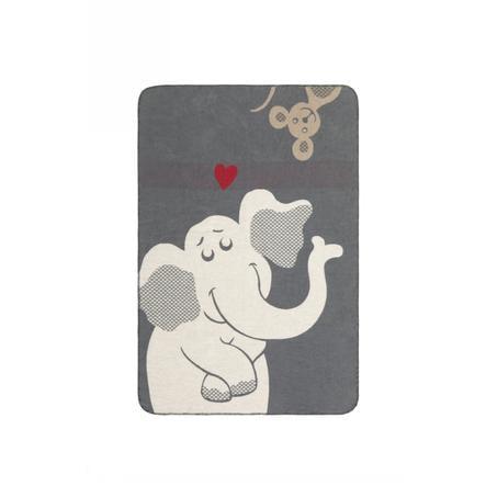 IBENA Jacquarddecke Kuschelkind 70x100 cm - Elefant grau