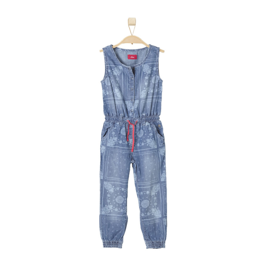 s.OLIVER Girls Jeansoverall blue denim stretch