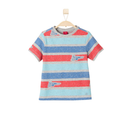 s.OLIVER Boys T-Shirt grey melange stripes