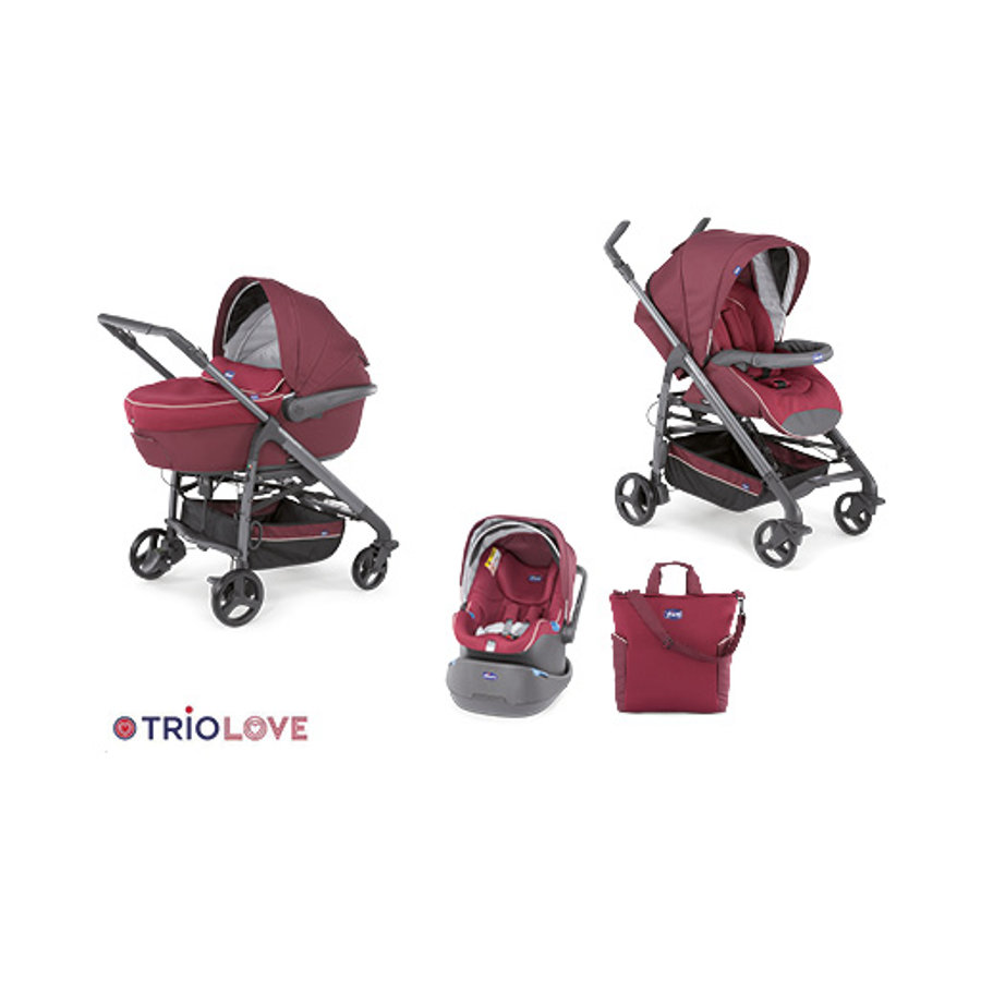 CHICCO Travel-System Trio Love mit Kit-Car BORDEAUX