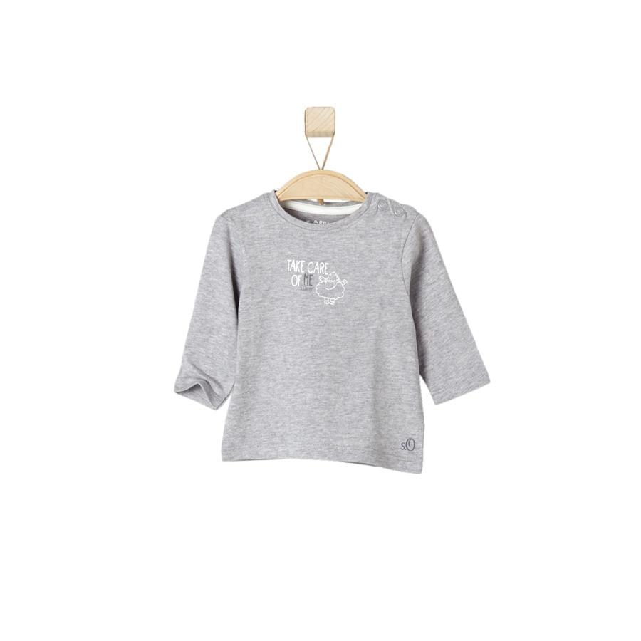 s.OLIVER Uni Tričko s dlouhým rukávem grey melange
