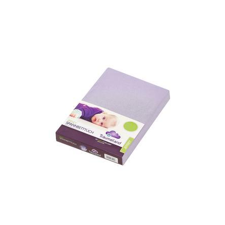 TRÄUMELAND Prześcieradło z gumką Jersey 40 x 90 cm kolor fioletowy