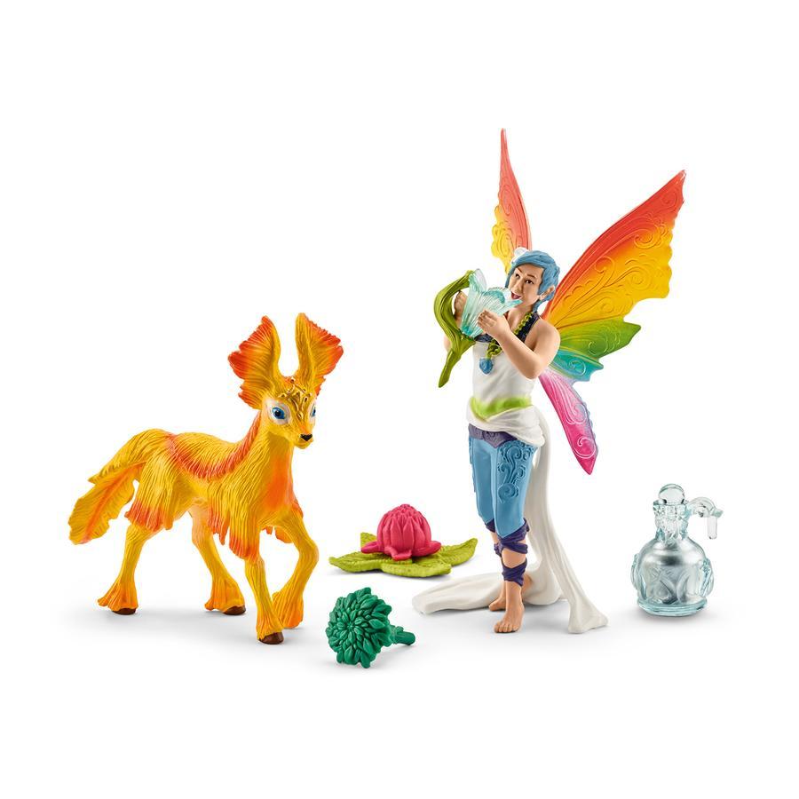 Schleich Figurine elfe arc-en-ciel Dunya et poulain 41438