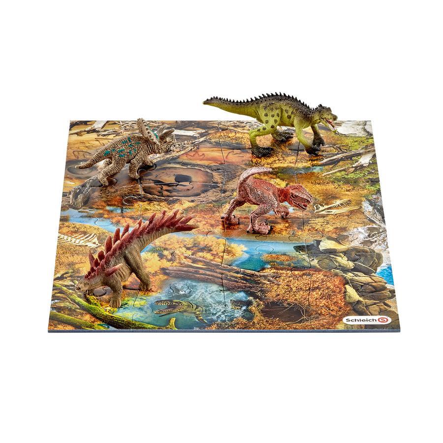 SCHLEICH Dinosaures - Mini Dinosaures avec puzzle marécage 42331