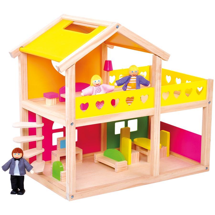 Bino Maison de poupée meublée, bois 83553