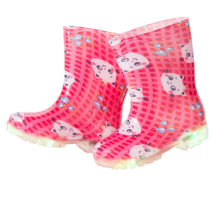 MAXIMO Girls Gummistiefel LED Katze pink rose