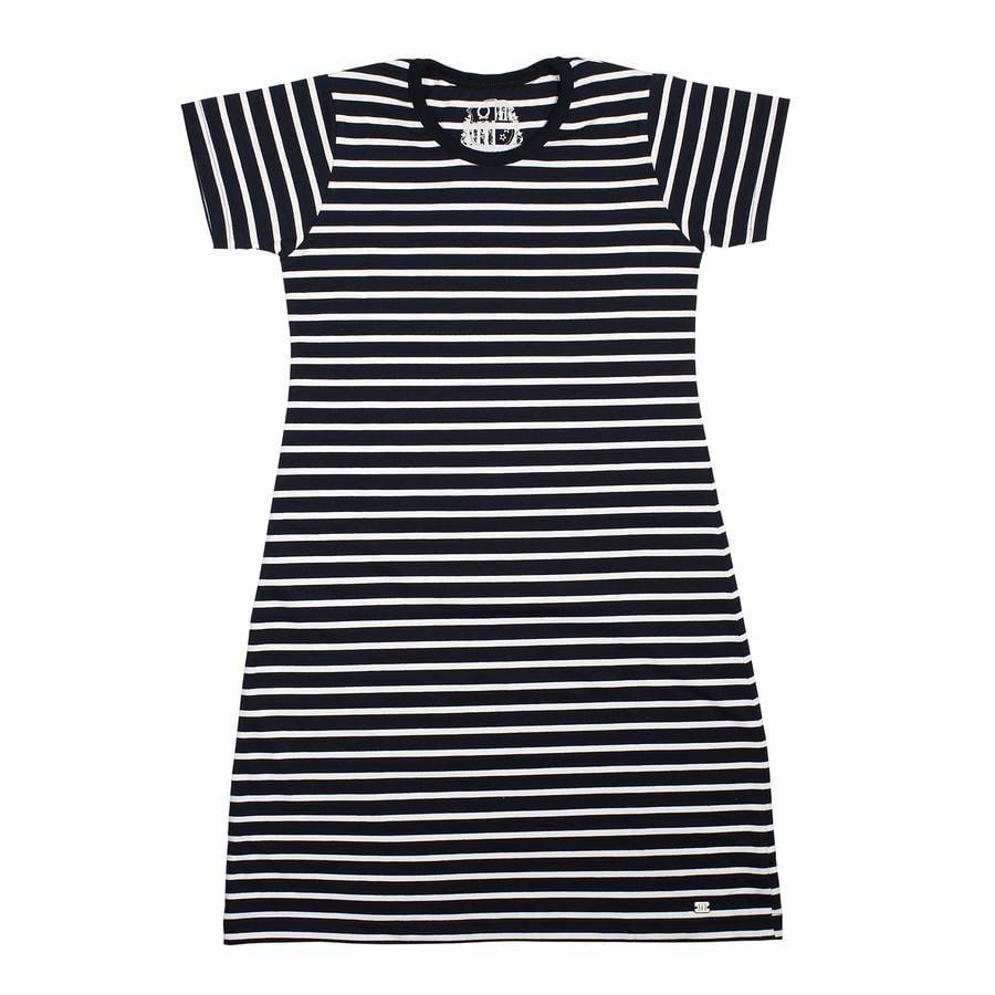 Maximo Girl s jurkje met korte mouwen donker marineblauw, wit