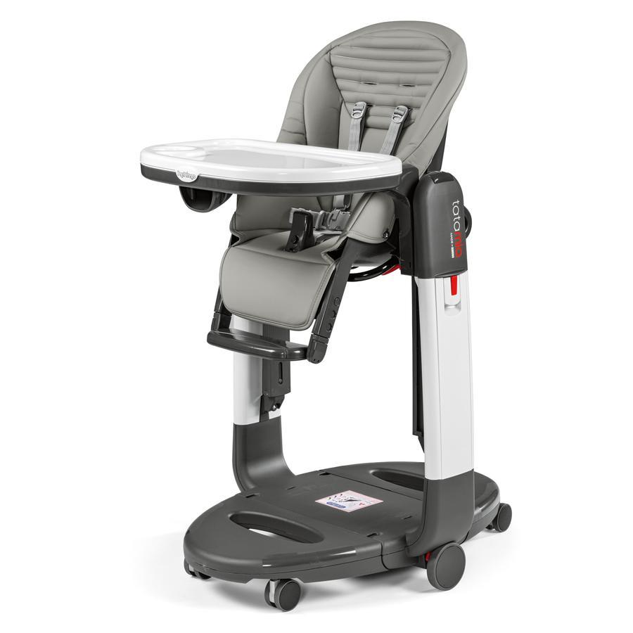 Peg-Perego Chaise haute Tatamia 3 en 1 rayures gris, similicuir