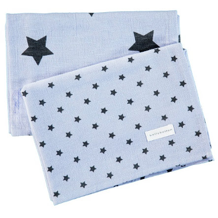 BELLYBUTTON Baby 2er-Set Moltontücher light blue