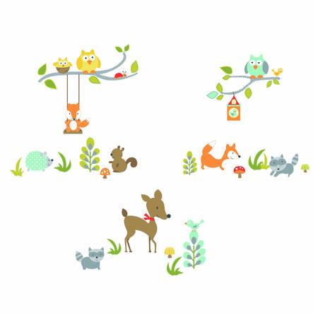 ROOMMATES Nálepky na stěnu - liška a přátelé