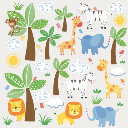 ROOMMATES Wall Stickers- jungle venner