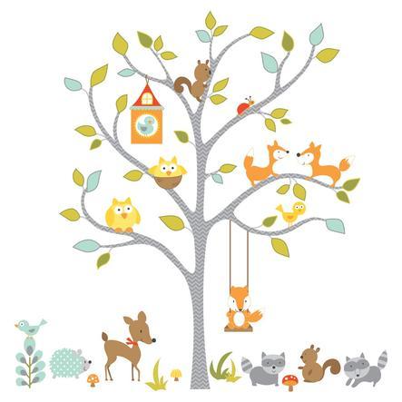 ROOMMATES Nálepky na stěnu - lesní zvířata na stromě