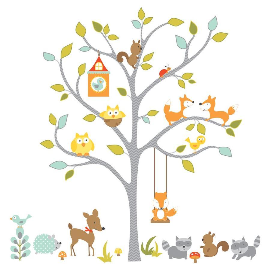 ROOMMATES Väggklistermärken - Skogsdjur på trädet