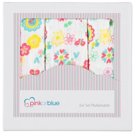 PINK OR BLUE EXKLUSIV Pieluszki muślinowe 3 szt. MILLEFLEUERS