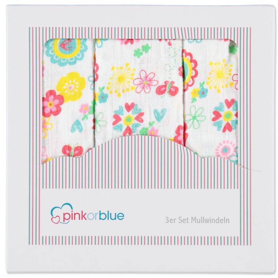 PINK OR BLUE Pannolini in cotone Confezione da 3 Millefiori