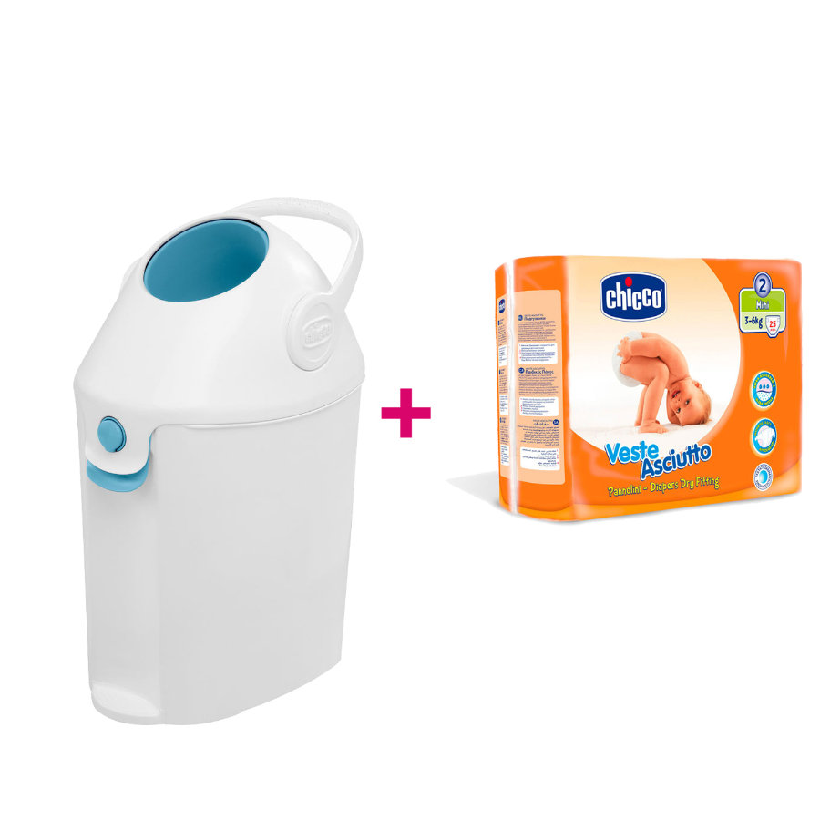 chicco Windeleimer Diaper Box + gratis Chicco Windeln Mini Gr.2, 25 Stück