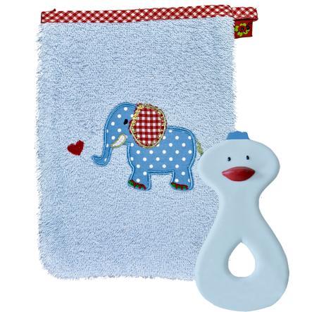 COPPENRATH Geschenkset Waschhandschuh und Beißring hellblau - BABYGLÜCK