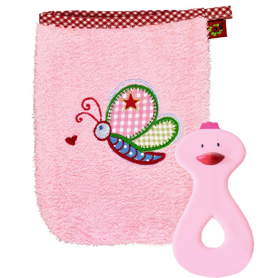 COPPENRATH Geschenkset Waschhandschuh und Beißring rosa - BABYGLÜCK